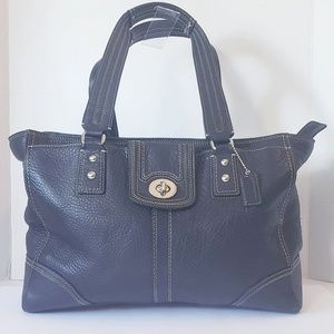 Coach F13960 Black Pebble Leather Hampton Tote
